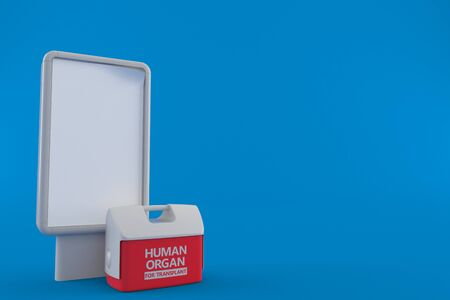 Cooler for human organ with blank billboard isolated on blue background. 3d illustration Imagens
