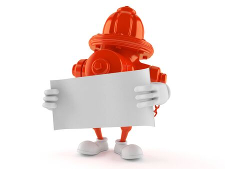 Hydrant character holding blank sheet of paper isolated on white background. 3d illustration