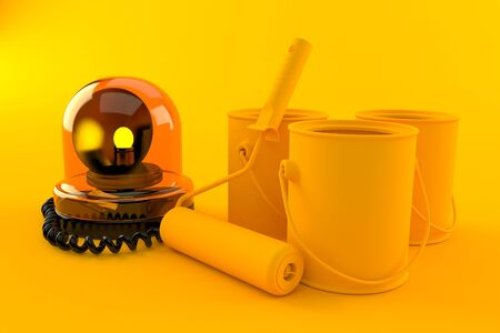 Renovation background with emergency siren in orange color. 3d illustration