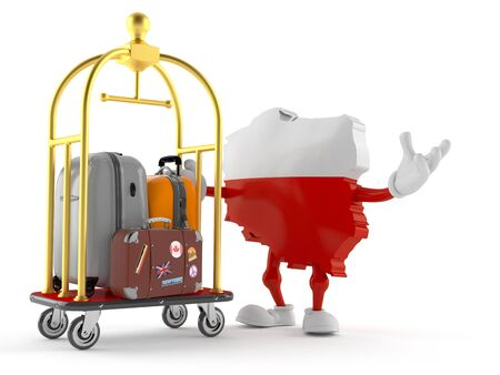 Poland character with hotel luggage cart isolated on white background. 3d illustration