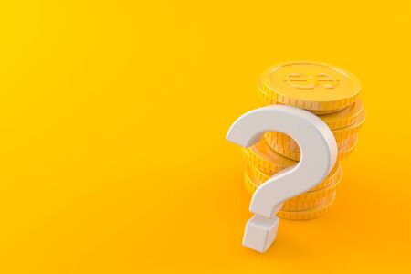 Question mark with stack of coins isolated on orange background. 3d illustration Stock Photo