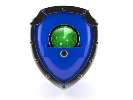 Radar inside shield isolated on white background. 3d illustration