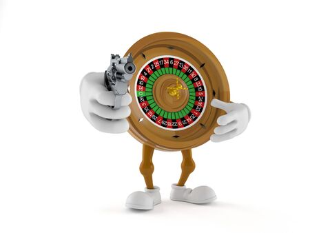 Roulette character aiming a gun isolated on white background. 3d illustration Stock Photo