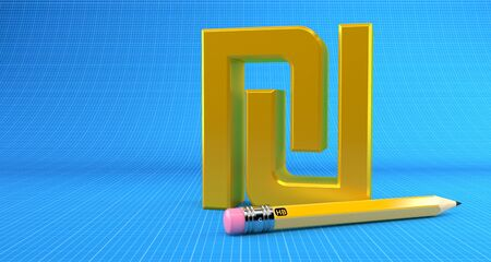 Shekel currency symbol with pencil on blueprint background. 3d illustration