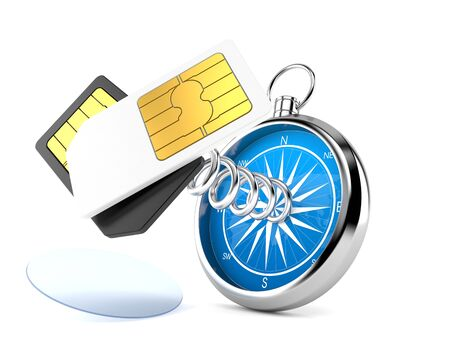 SIM cards with compass isolated on white background. 3d illustration