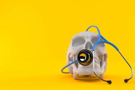 Skull with stethoscope isolated on orange background. 3d illustration Stock Photo