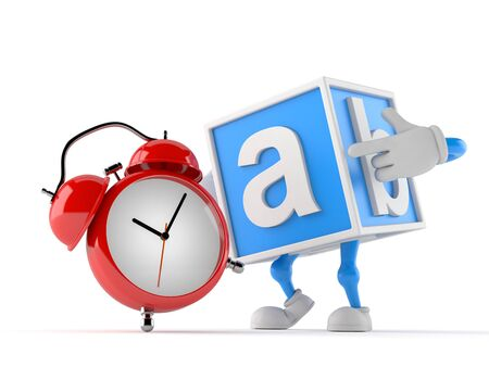 Toy block character with alarm clock isolated on white background. 3d illustration Stock Photo