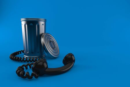 Trash can with telephone handset isolated on blue background. 3d illustration