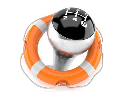 Gearshift inside life buoy isolated on white background. 3d illustration