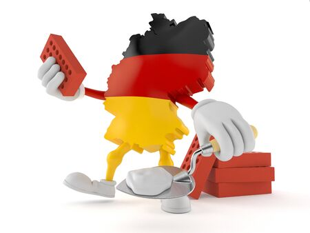 German character with trowel and bricks isolated on white background. 3d illustration