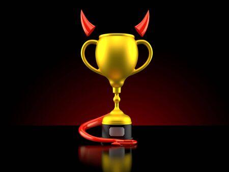 Golden trophy with devil horns and tail on black background. 3d illustration
