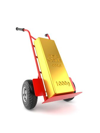 Gold ingot with hand truck isolated on white background. 3d illustration
