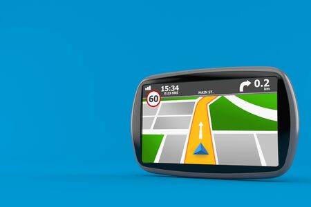 GPS navigation isolated on blue background. 3d illustration
