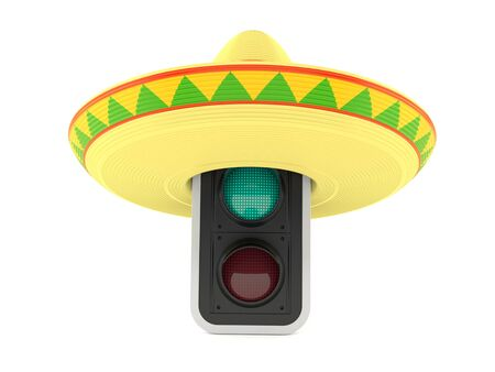 Green traffic light with sombrero isolated on white background. 3d illustration Imagens
