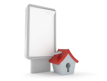 Small house with blank billboard isolated on white background. 3d illustration