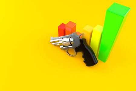 Gun with chart isolated on orange background. 3d illustration