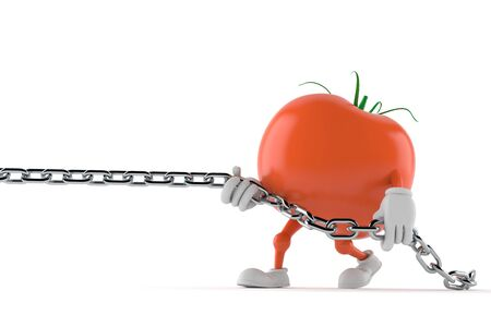 Tomato character pulling chain isolated on white background. 3d illustration Stock Photo
