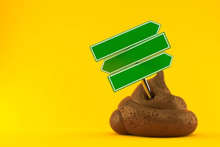 Dung poo with signpost isolated on orange background. 3d illustration Фото со стока