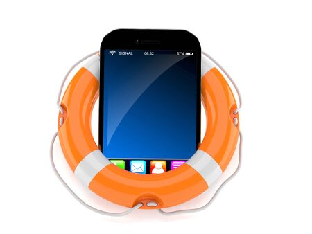 Smart phone with life buoy isolated on white background. 3d illustration Foto de archivo