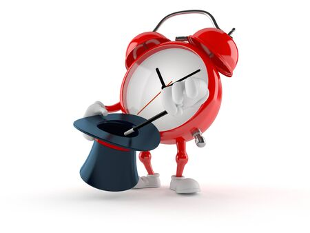 Alarm clock character with magic hat isolated on white background. 3d illustration Stock Photo