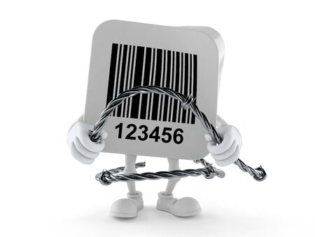 Barcode character holding barbed wire isolated on white background. 3d illustration 写真素材