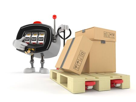 Slot machine character with hand pallet truck with cardboard boxes isolated on white background. 3d illustration Stock Photo