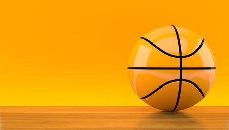 Basketball ball on orange background. 3d illustration