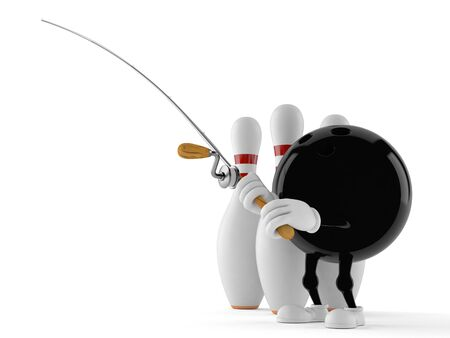 Bowling character with fishing rod isolated on white background. 3d illustration