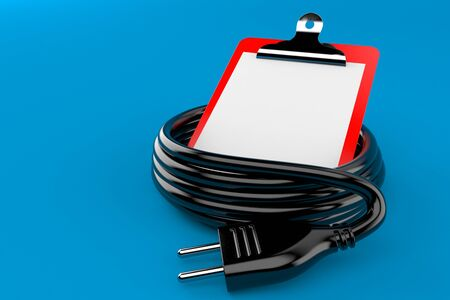 Electric cable with blank clipboard isolated on blue background. 3d illustration
