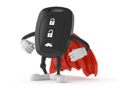 Car remote key character with hero cape isolated on white background. 3d illustration Banque d'images - 124969873