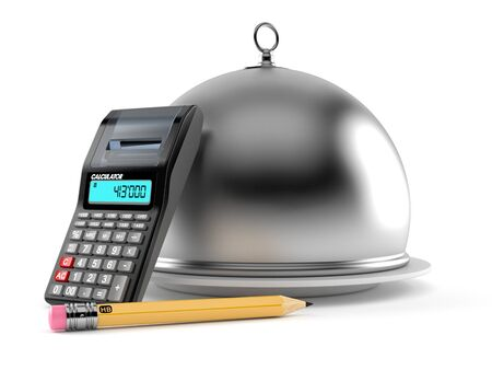 Catering dome with calculator and pencil isolated on white background. 3d illustration