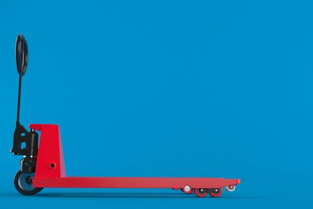 Hand pallet truck isolated on blue background. 3d illustration