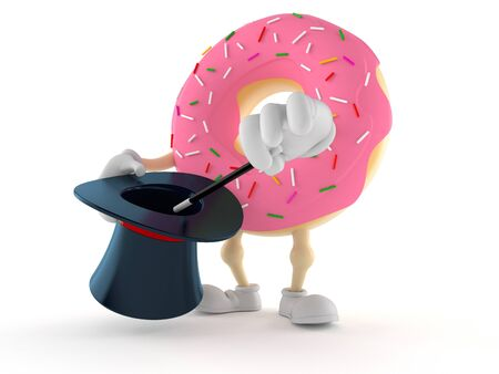 Donut character with magic hat isolated on white background. 3d illustration