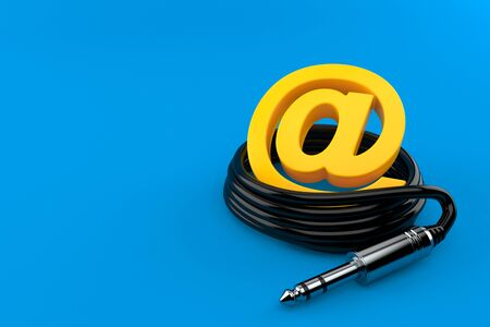 E-mail symbol with audio cable isolated on blue background. 3d illustration