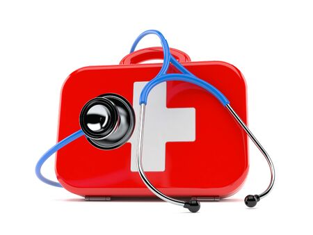 First aid kit with stethoscope isolated on white background. 3d illustration