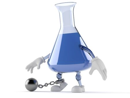 Chemistry flask character with prison ball isolated on white background. 3d illustration