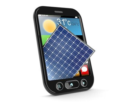 Photovoltaic panel inside smartphone isolated on white background. 3d illustration Banco de Imagens
