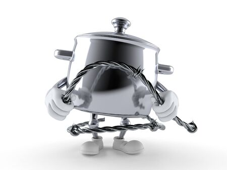 Kitchen pot character holding barbed wire isolated on white background. 3d illustration