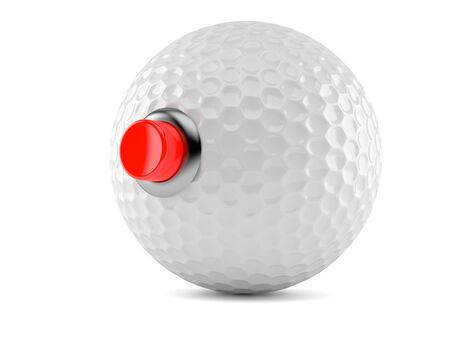 Golf ball with push button isolated on white background. 3d illustration Zdjęcie Seryjne