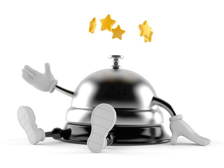 Hotel bell character with stars around head isolated on white background. 3d illustration Imagens