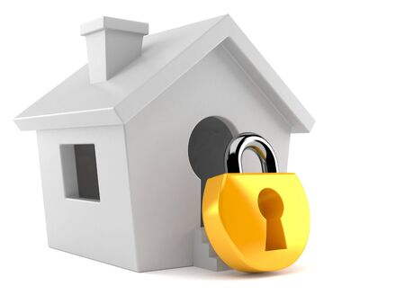 Small house with padlock isolated on white background. 3d illustration