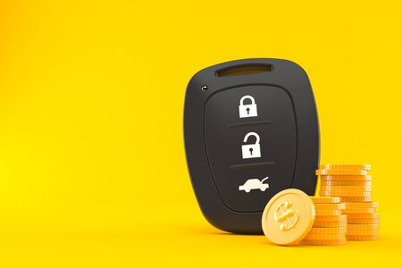 Car remote key with stack of coins isolated on orange background. 3d illustration Banque d'images - 124969950