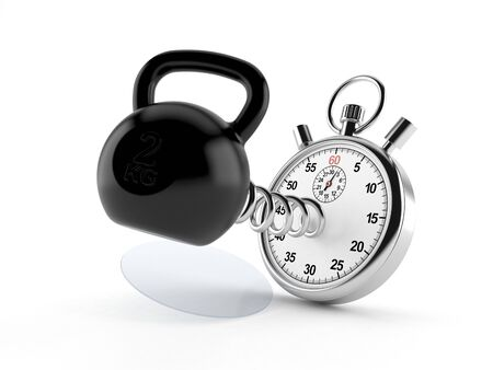 Kettlebell with stopwatch isolated on white background. 3d illustration Stock Photo