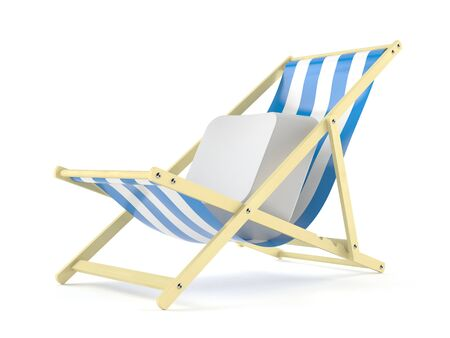 Computer key on deck chair isolated on white background. 3d illustration