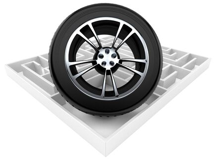 Car wheel inside maze isolated on white background. 3d illustration