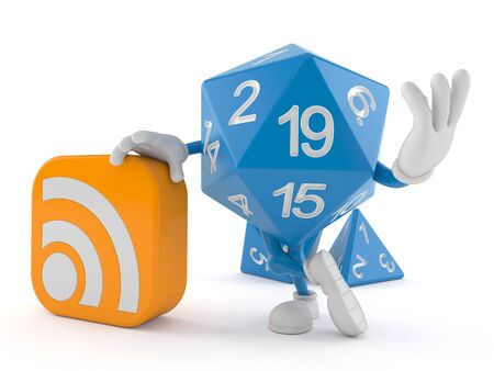 RPG dice character with RSS icon isolated on white background. 3d illustration