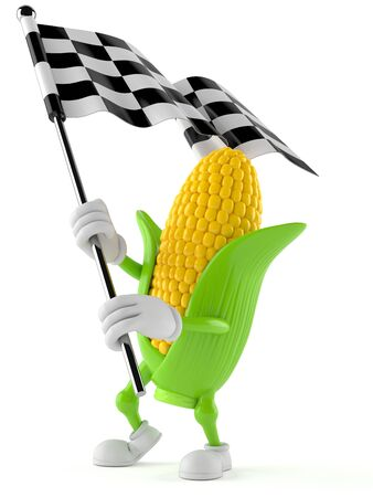 Corn character waving race flag isolated on white background. 3d illustration