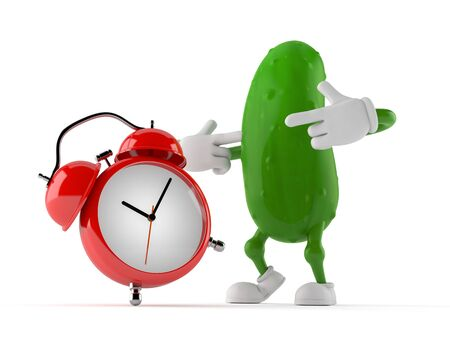 Cucumber character with alarm clock isolated on white background. 3d illustration Stok Fotoğraf