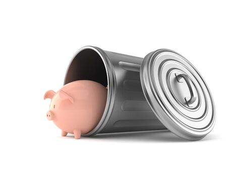 Piggy bank inside trash can isolated on white background. 3d illustration