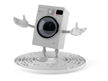 Washer character inside maze isolated on white background. 3d illustration